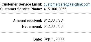 pembayaran dari ask2link, 1 sep 09