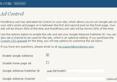 ad control page in wordpress.com blogs