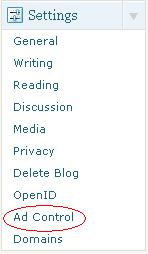 ad control menu in setting blog