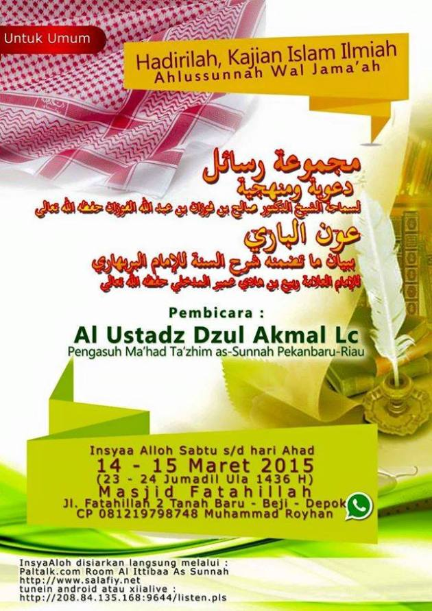 Dauroh Ust Dzul Akmal 14-15 Maret 2015